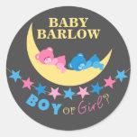 Boy Or Girl Teddy Bears On Moon Gender Reveal Round Sticker