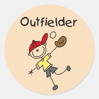 Boy Outfielder Tshirts and Gifts Round Sticker