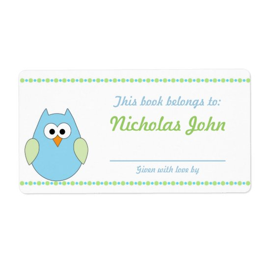 Boy Owl Baby Shower Bookplates book plates