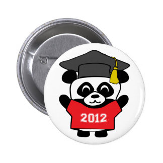 Boy Panda Red & White 2012 Grad 6 Cm Round Badge