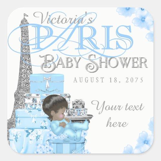 Boy Paris Baby Shower Stickers