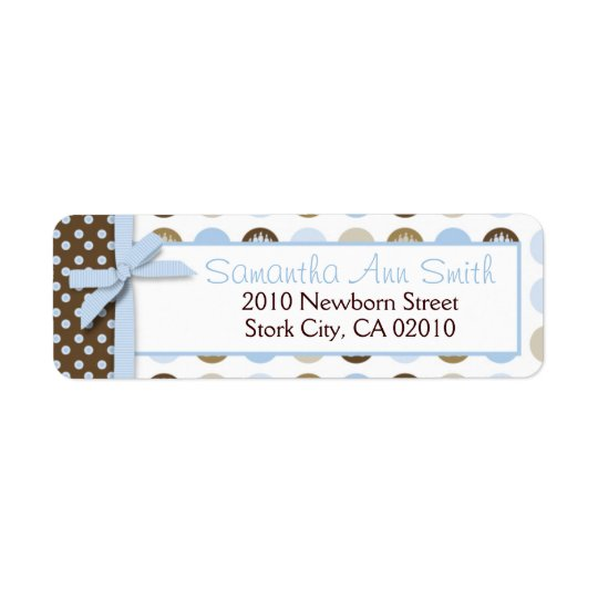 Boy Paw Print Polka Dots Return Label
