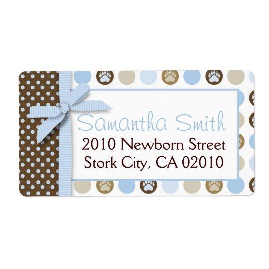 Boy Paw Print Polka Dots Shipping Label