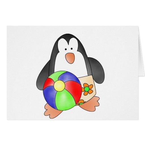 Boy Penguin at Beach Tshirts and Gifts Greeting Card