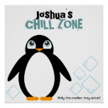 boy PENGUIN personalised kid's room art poster