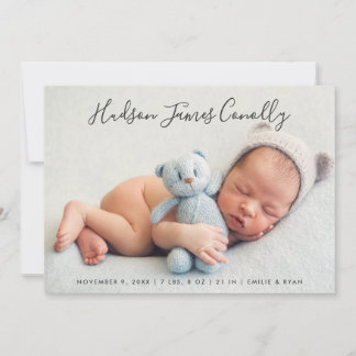 Boy Photo Birth Announcement Card | Standout Name