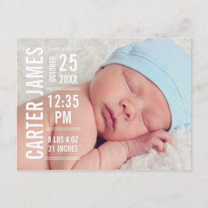 Boy Photo Birth Announcement | Modern Type