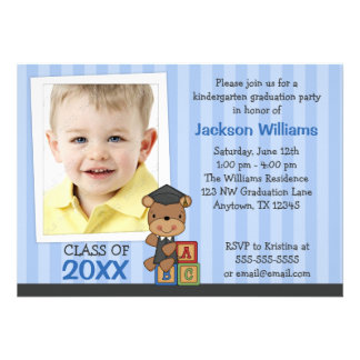Boy Photo Graduation Bear Blue Stripes Custom Invites