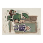 Boy Pig Champagne Shamrock Door Poster