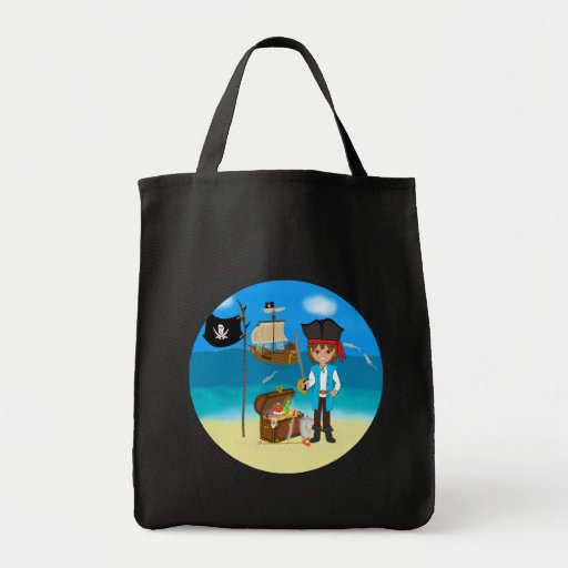 Boy Pirate with Treasure Chest Bag