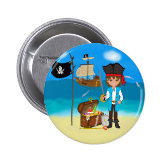 Boy Pirate with Treasure Chest Button