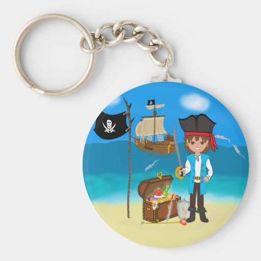 Boy Pirate with Treasure Chest Keychain