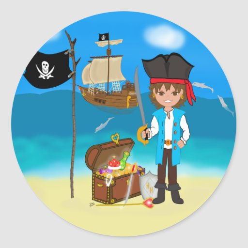 Boy Pirate with Treasure Chest Stickers