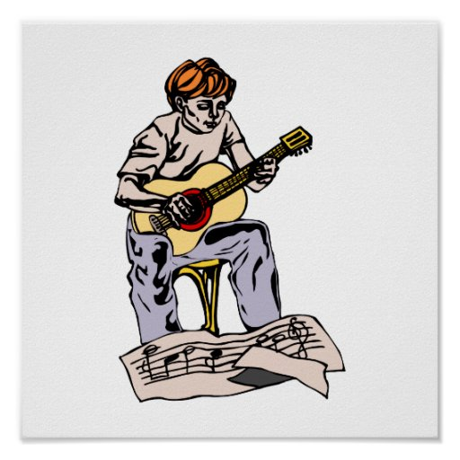 Boy playing acoustic guitar with sheet music posters
