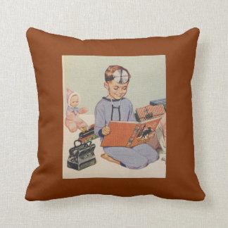 Boy playing Doctor  - Retro Throw Pillow
