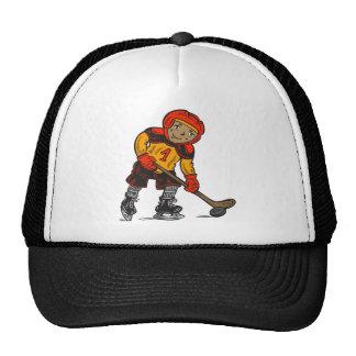 Boy Playing Hockey Mesh Hat