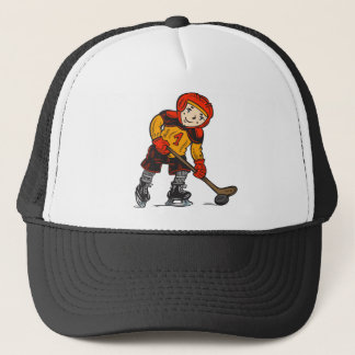Boy Playing Hockey Trucker Hat