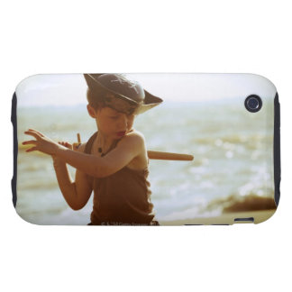 Boy playing pirate, wooden sword tough iPhone 3 cases