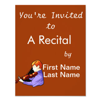 Boy playing Violin side back view graphic image 11 Cm X 14 Cm Invitation Card