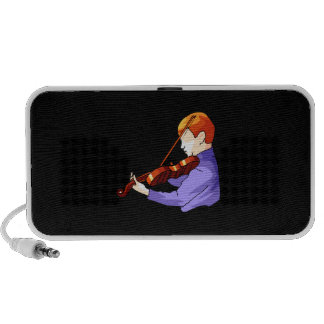 Boy playing Violin side back view graphic image Portable Speaker