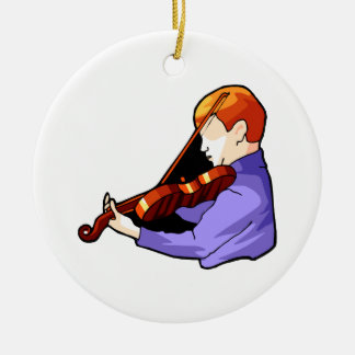 Boy playing Violin side back view graphic image Round Ceramic Decoration