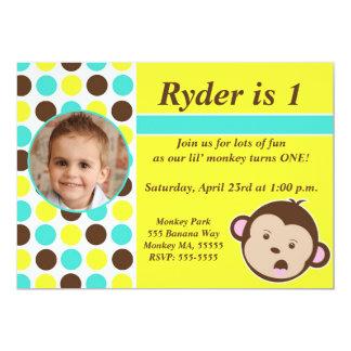 Boy Polka Dot Monkey Invite