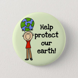 Boy Protect Our Earth T-shirts and Gifts 6 Cm Round Badge