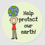 Boy Protect Our Earth T-shirts and Gifts Round Sticker