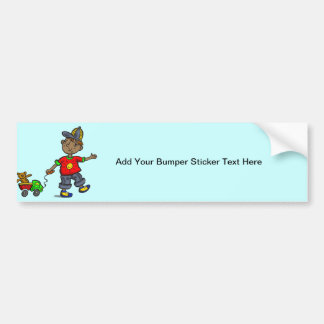 Boy Pulling Toy Bumper Stickers