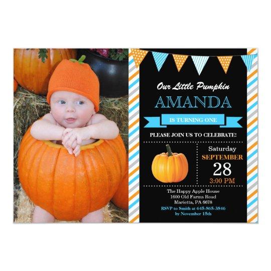 Boy Pumpkin Birthday Invitation Orange and Blue