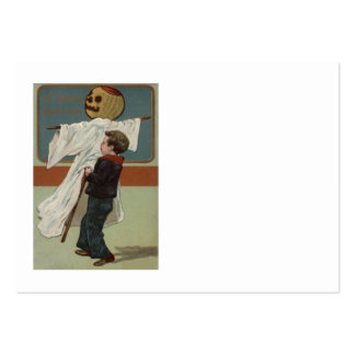 Boy Pumpkin Jack O' Lantern Scarecrow Pack Of Chubby Business Cards