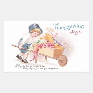 Boy Pushing Wheelbarrow of Harvest Thanksgiving Rectangular Sticker