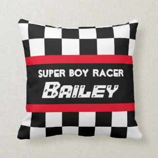 Boy racer red black chequered flag name pillow