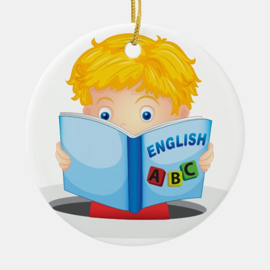 boy reading book christmas ornament