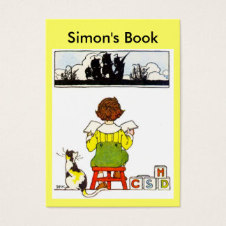Boy reading Book Plate Business Card