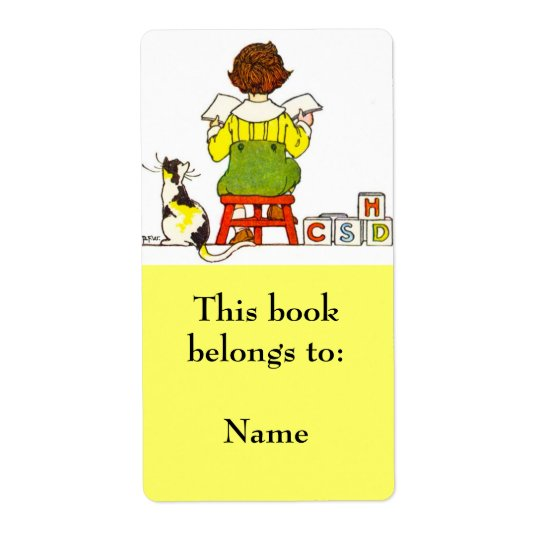Boy Reading Book Plate Shipping Label