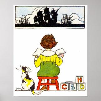 Boy Reading Poster