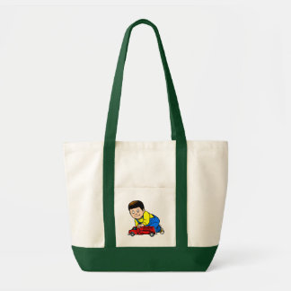 Boy red fire truck tote bags