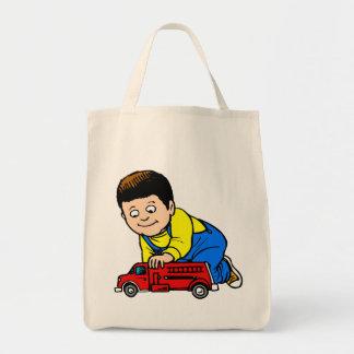 Boy red fire truck bag