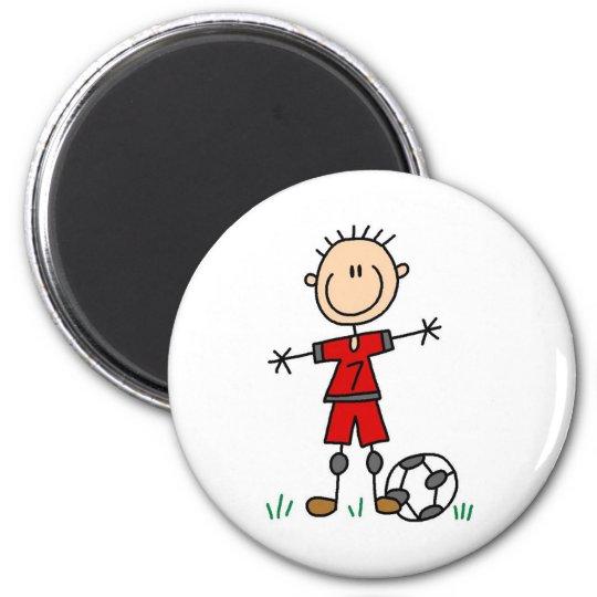 Boy Red Uniform Soccer 6 Cm Round Magnet