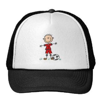 Boy Red Uniform Soccer Mesh Hat