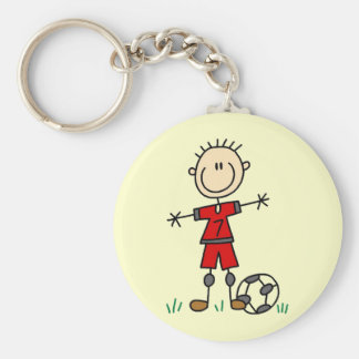 Boy Red Uniform Soccer Player T-shirts and Gifts Basic Round Button Key Ring