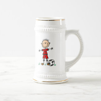 Boy Red Uniform Soccer Player T-shirts and Gifts Beer Steins