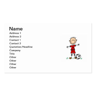 Boy Red Uniform Soccer Player T-shirts and Gifts Business Card