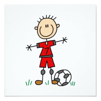 Boy Red Uniform Soccer Player T-shirts and Gifts 13 Cm X 13 Cm Square Invitation Card