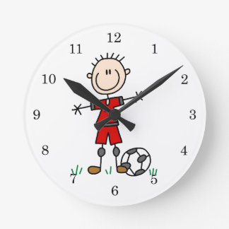 Boy Red Uniform Soccer Player T-shirts and Gifts Round Clock