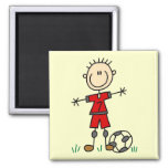 Boy Red Uniform Soccer T-shirts and Gifts Square Magnet