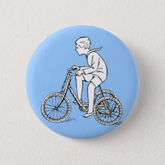 Boy Riding Antique Tricycle 6 Cm Round Badge