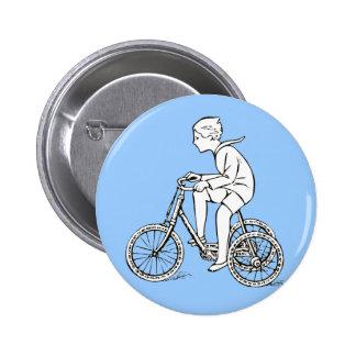 Boy Riding Antique Tricycle 6 Cm Round Badge