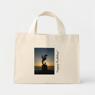 Boy Riding Seahorse; Happy Birthday Tote Bag